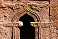 Close-up of rock-cut church window in Lalibela