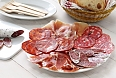 Various types of Spanish salami, sausage and ham