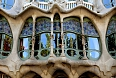 Detail of ornate windows on Casa Batllo, Barcelona